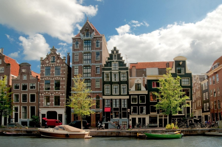 View of the canals of Amsterdam The Netherlands