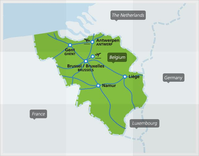 Map with main train connections in Belgium
