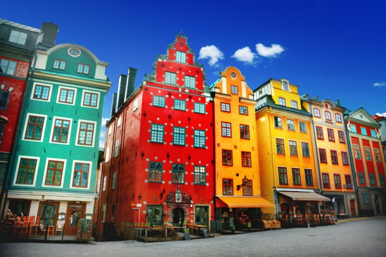 colourful buildings in stockholm