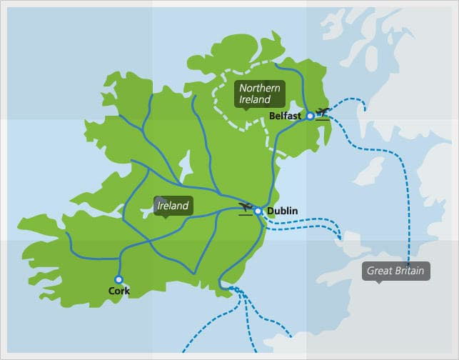 Map with main train connections in Ireland