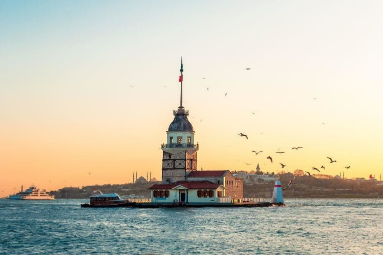 The Maiden's Tower standing in the Bosphorus strait