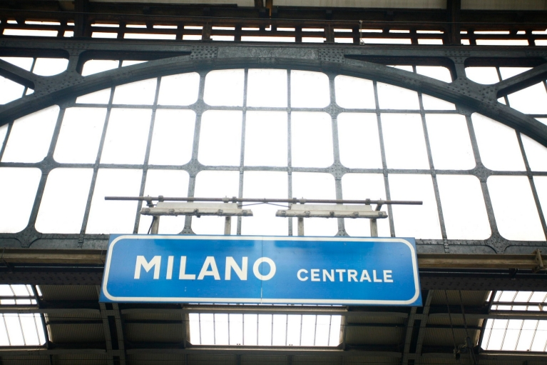 Sign of Milan train station, Italy