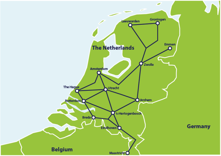 Map with main train connections in the Netherlands